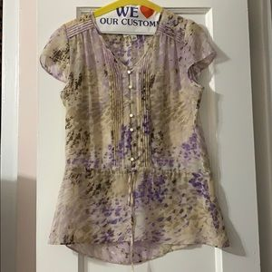 Banana republic purple and tan blouse